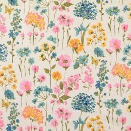 Leinen Viskose Mischgewebe, bunte Blumen, Little Darling